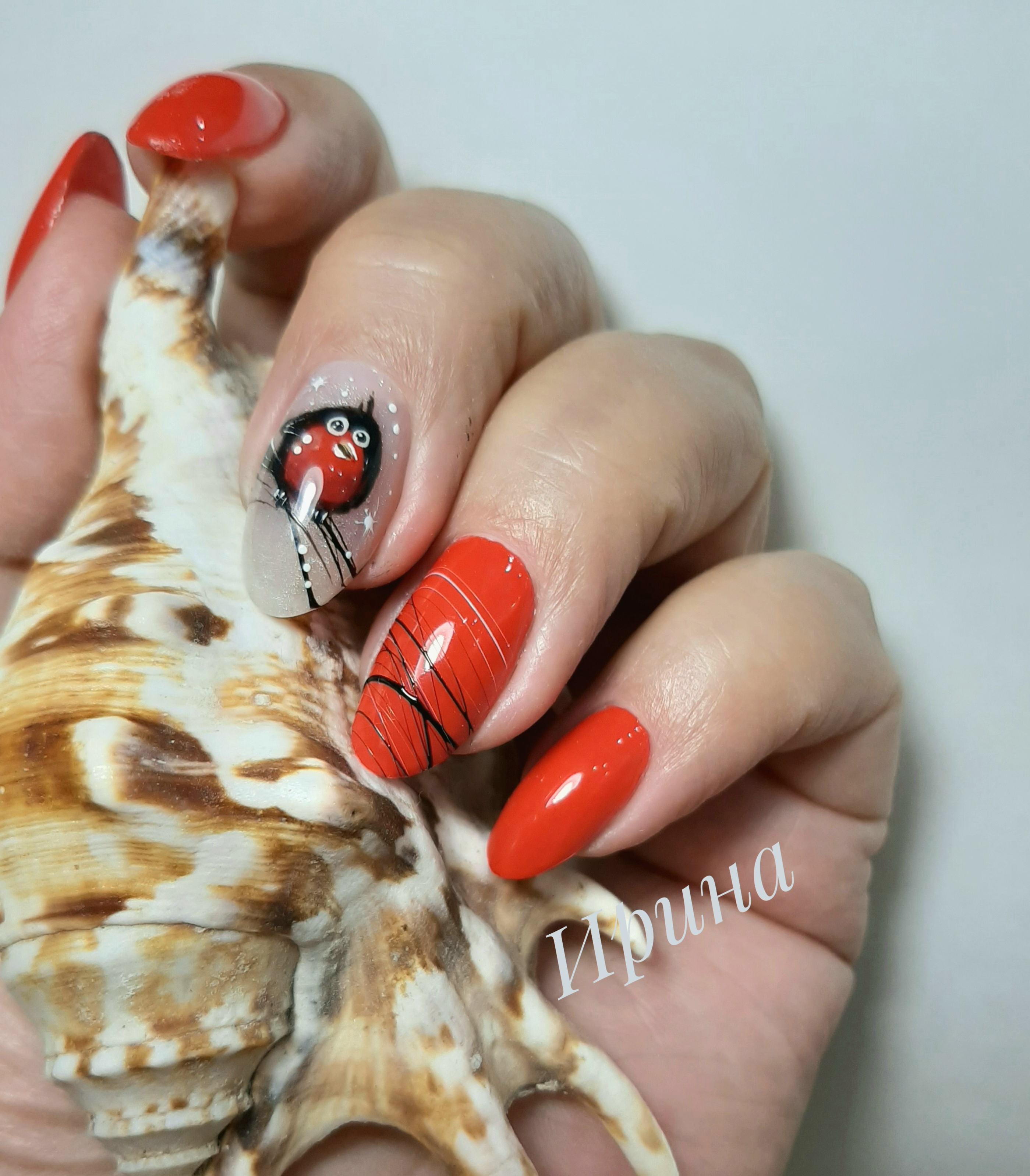 """Маникюр в красном цвете с мультяшным рисунком """"птичка"""" и паутинкой."""