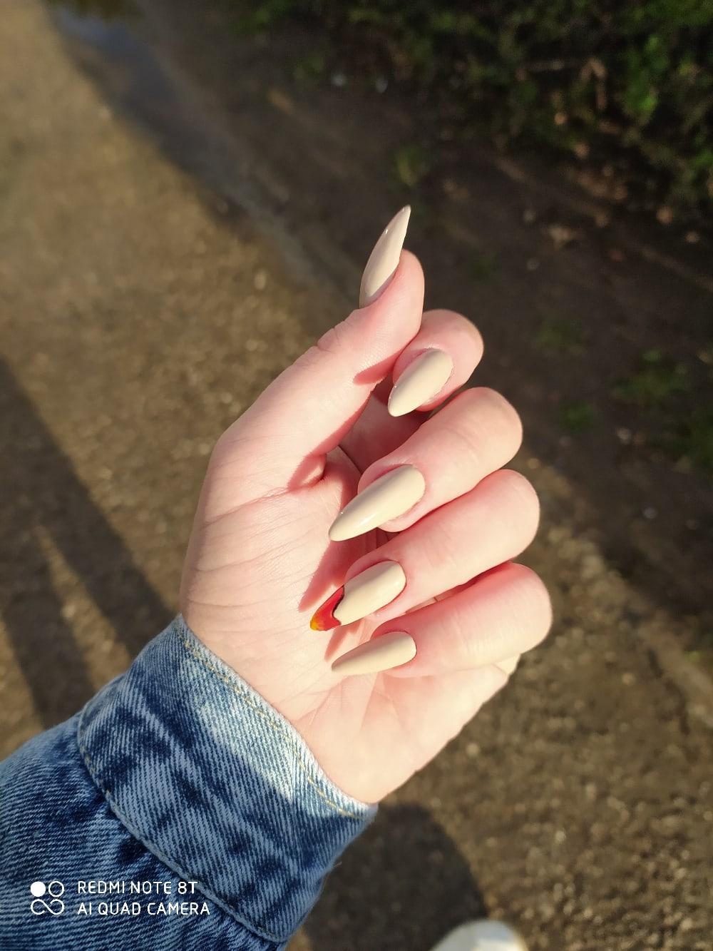Маникюр с рисунком в бежевом цвете на длинные ногти.