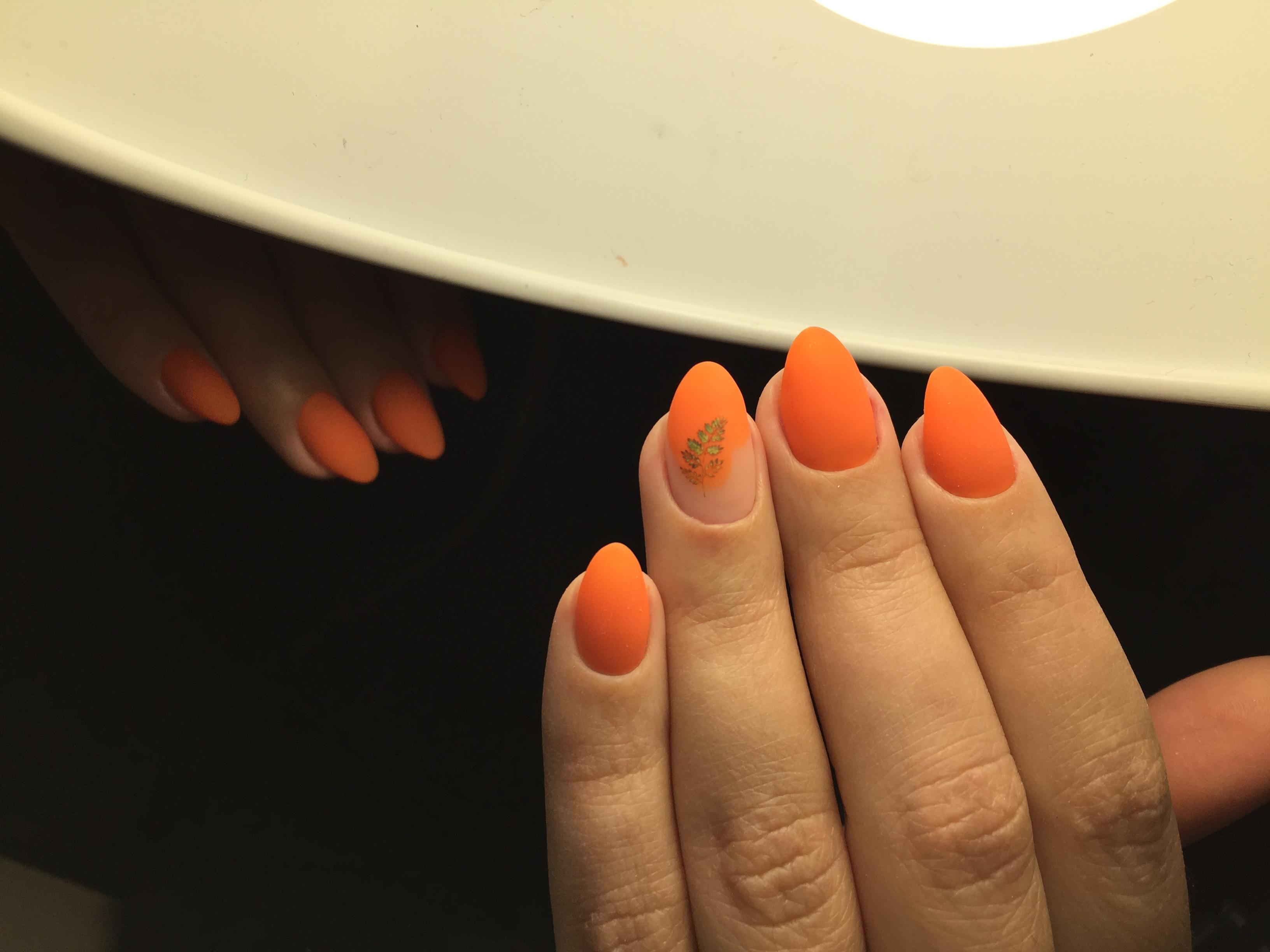 Матовый маникюр с растительным рисунком в оранжевом цвете на короткие ногти.