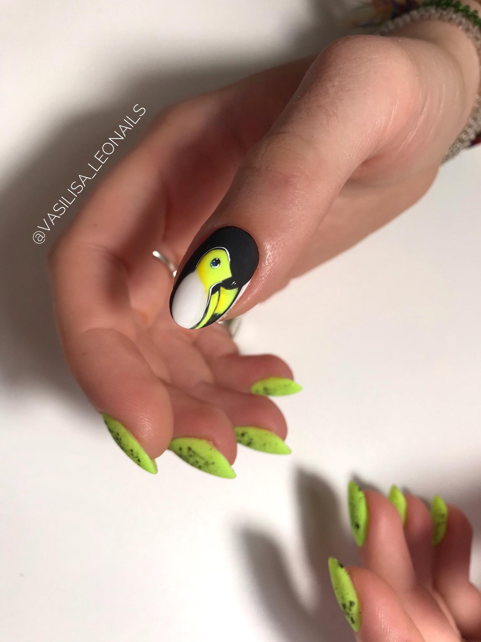 Матовый маникюр с туканом в салатовом цвете на длинные ногти.