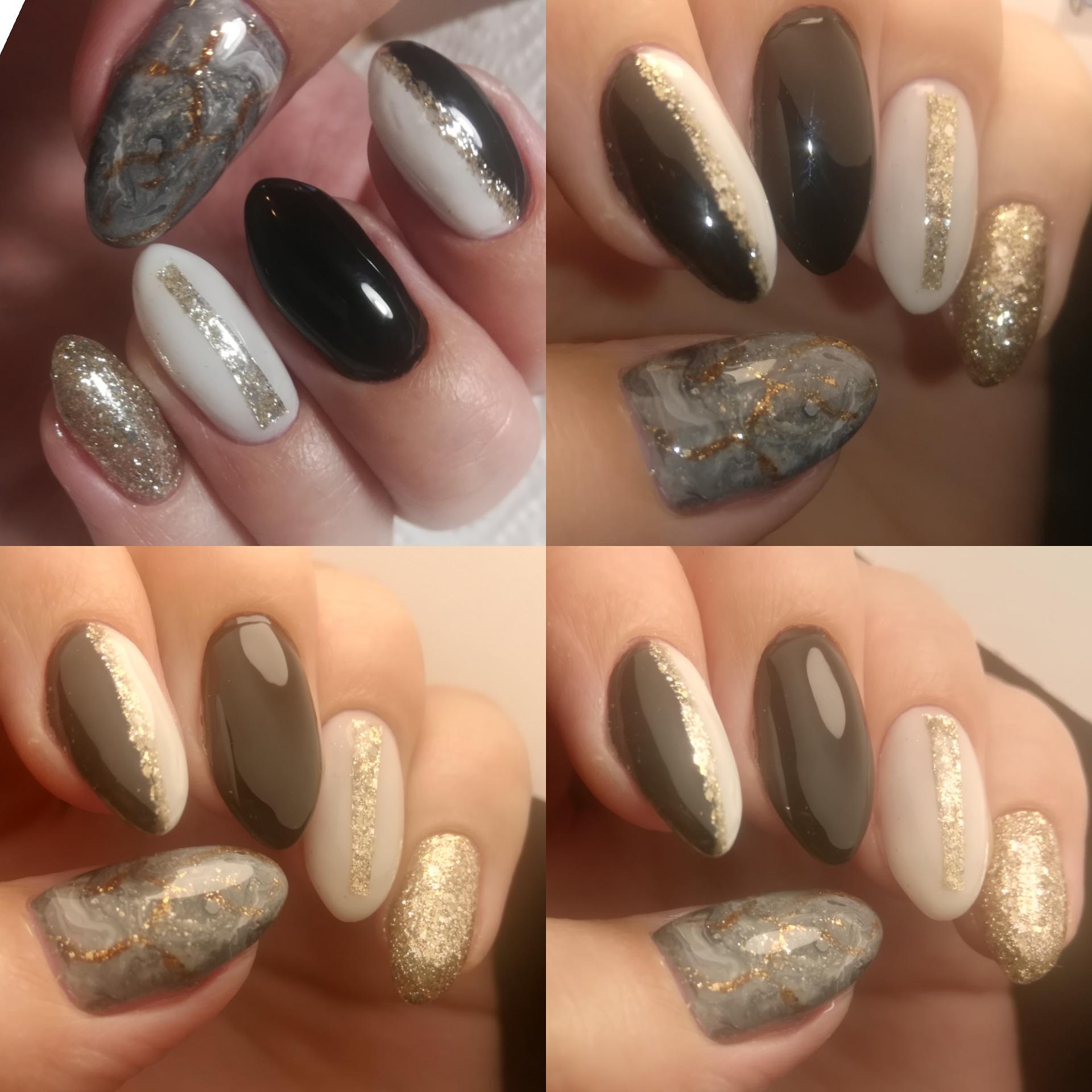 Маникюр с мраморным дизайном и золотыми блестками на длинные ногти.