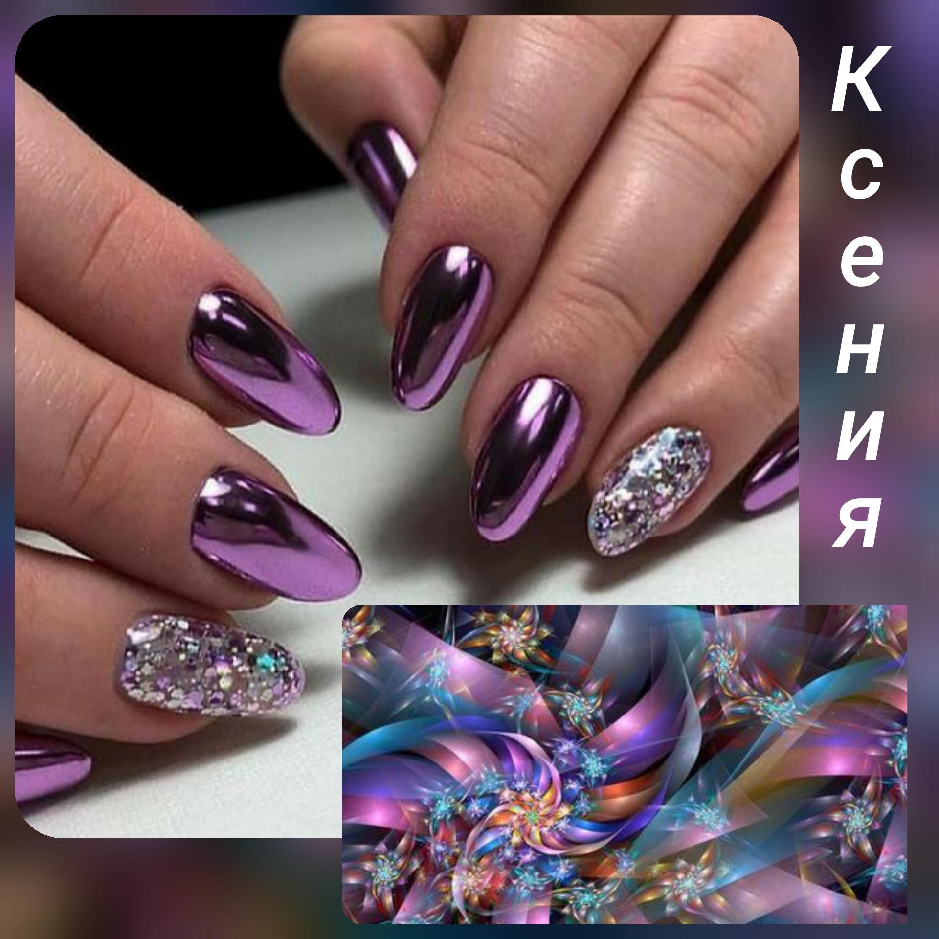 Маникюр с втиркой и камифубуки в фиолетовом цвете.