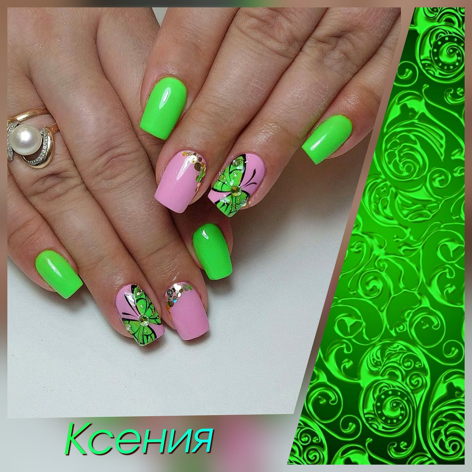 Маникюр с бабочками и камифубуки в кислотном цвете на короткие ногти.