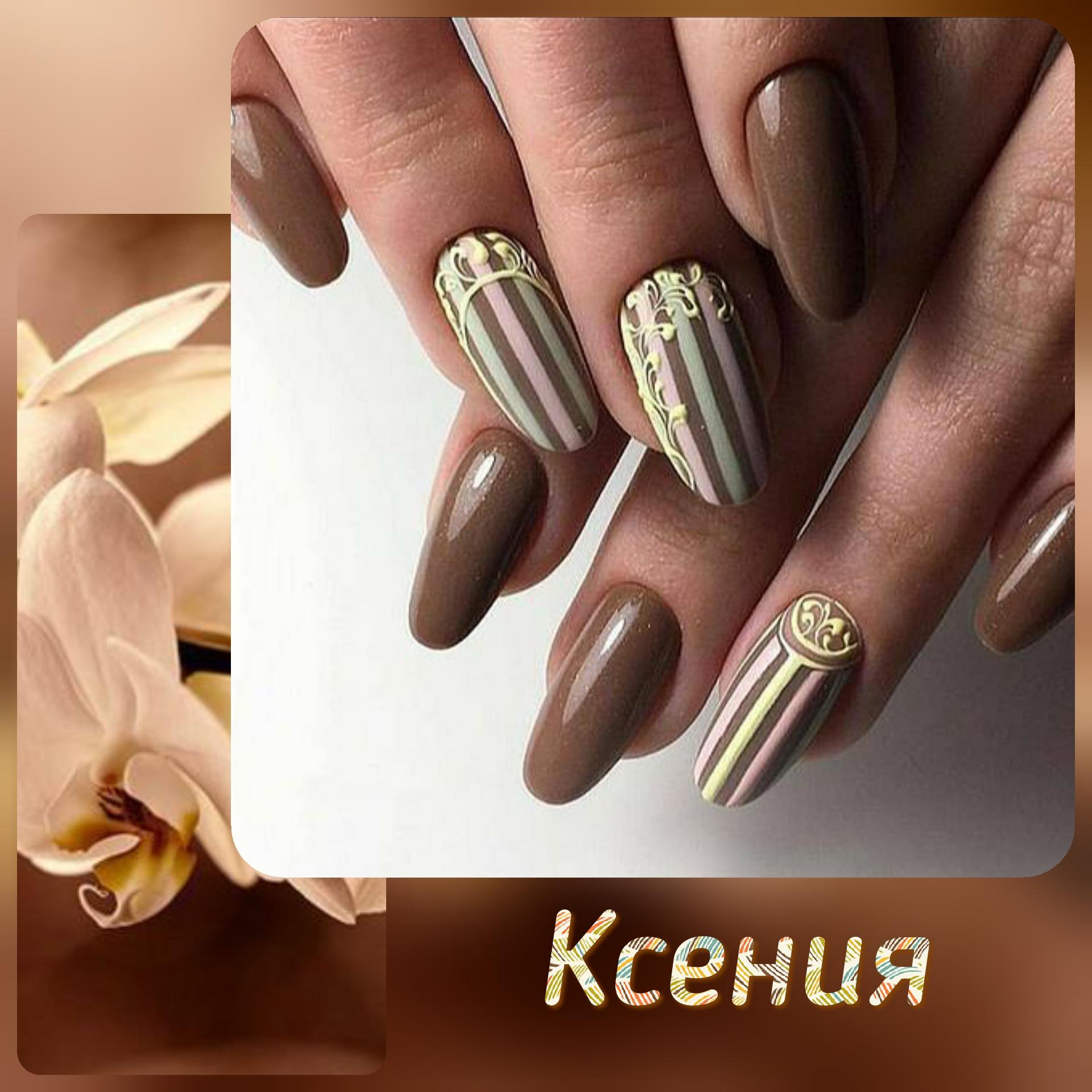 Маникюр с полосками в коричневом цвете.