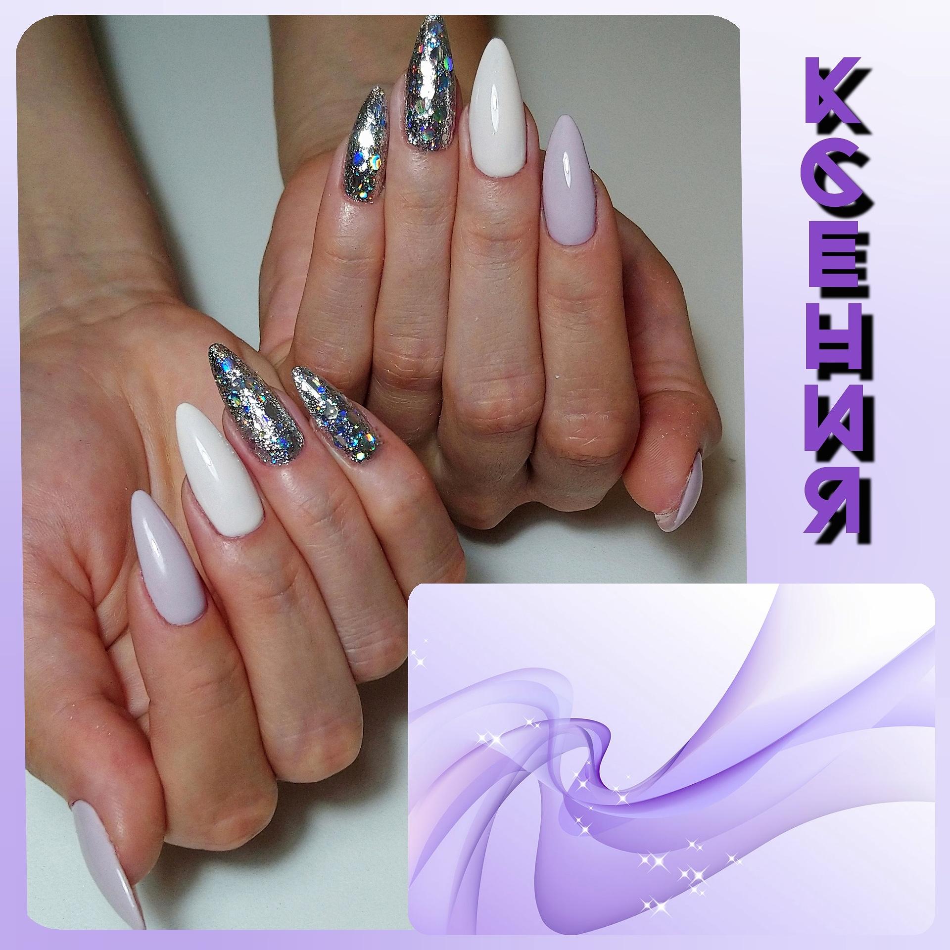 Маникюр с серебряными камифубуки в пастельных тонах на длинные ногти.