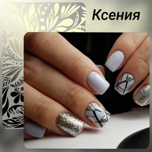 Блестки уместны и на коротких ногтях.