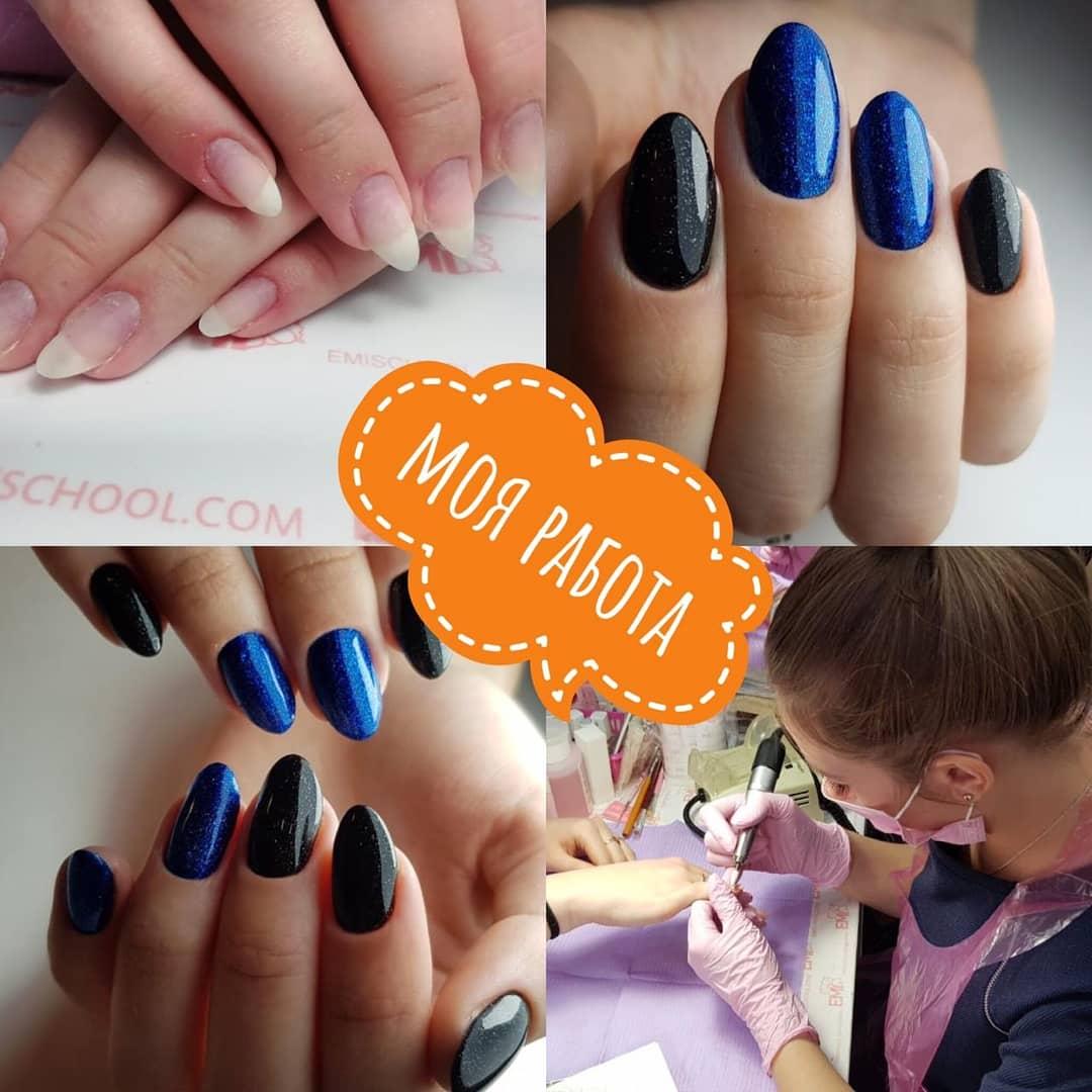 Маникюр в чёрном и синем цветах с блёстками.