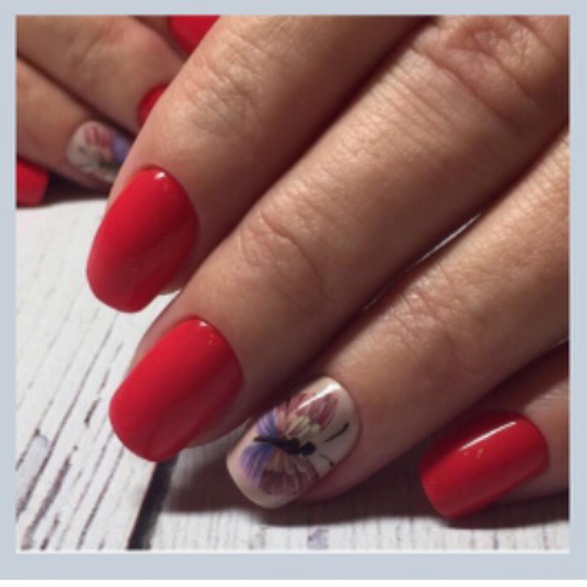 """Однотонный маникюр в красном цвете с цветным слайдером """"бабочка""""."""