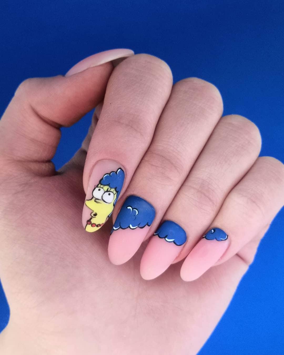 Симпсоны на ногтях, ручная роспись