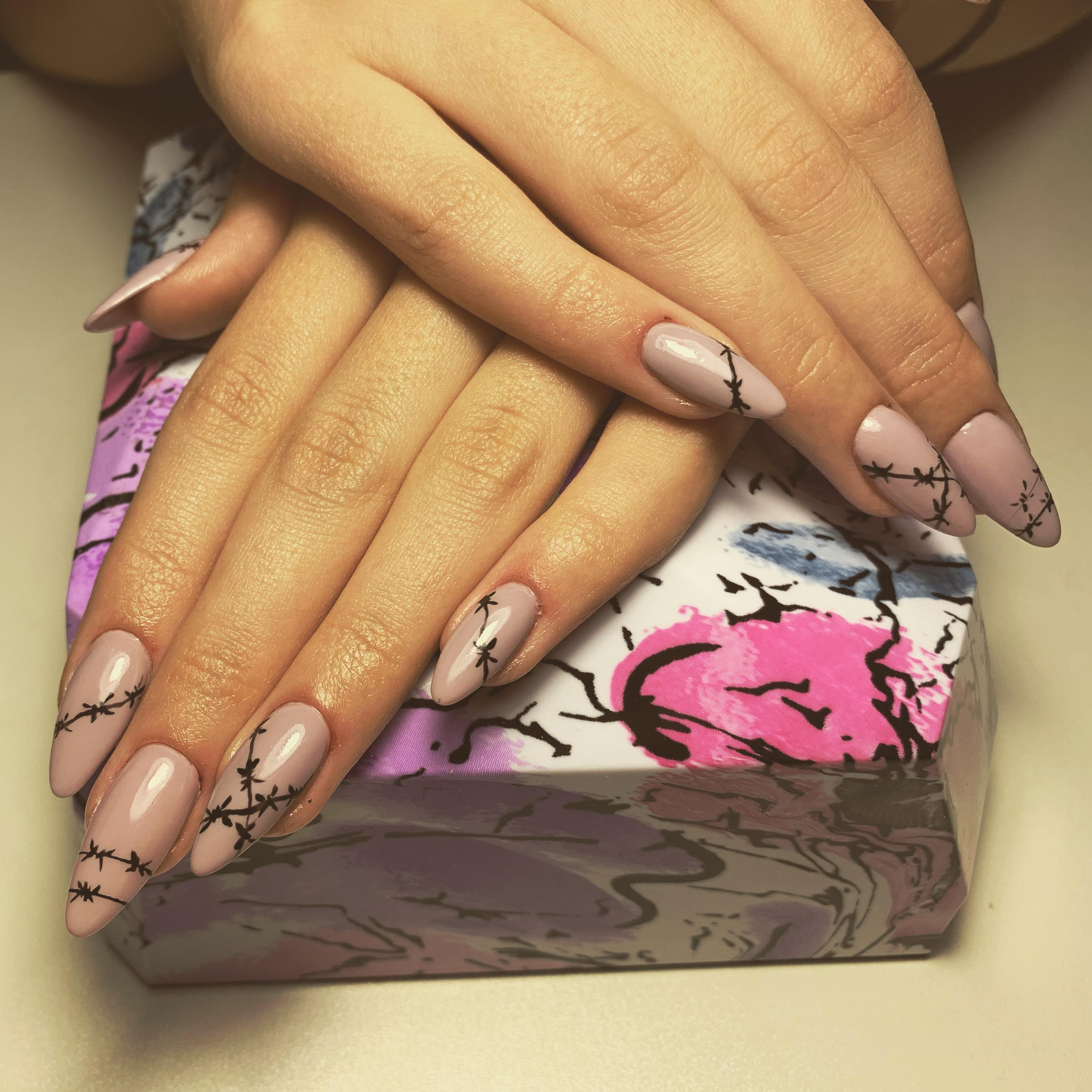 Маникюр с рисунком в пастельных тонах на длинные ногти.