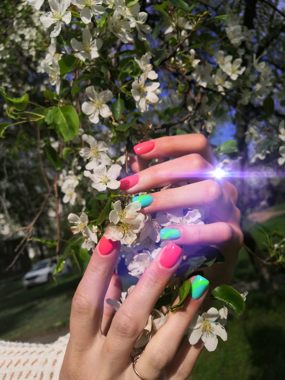 Маникюр с ярким акцентом в красном цвете на короткие ногти.