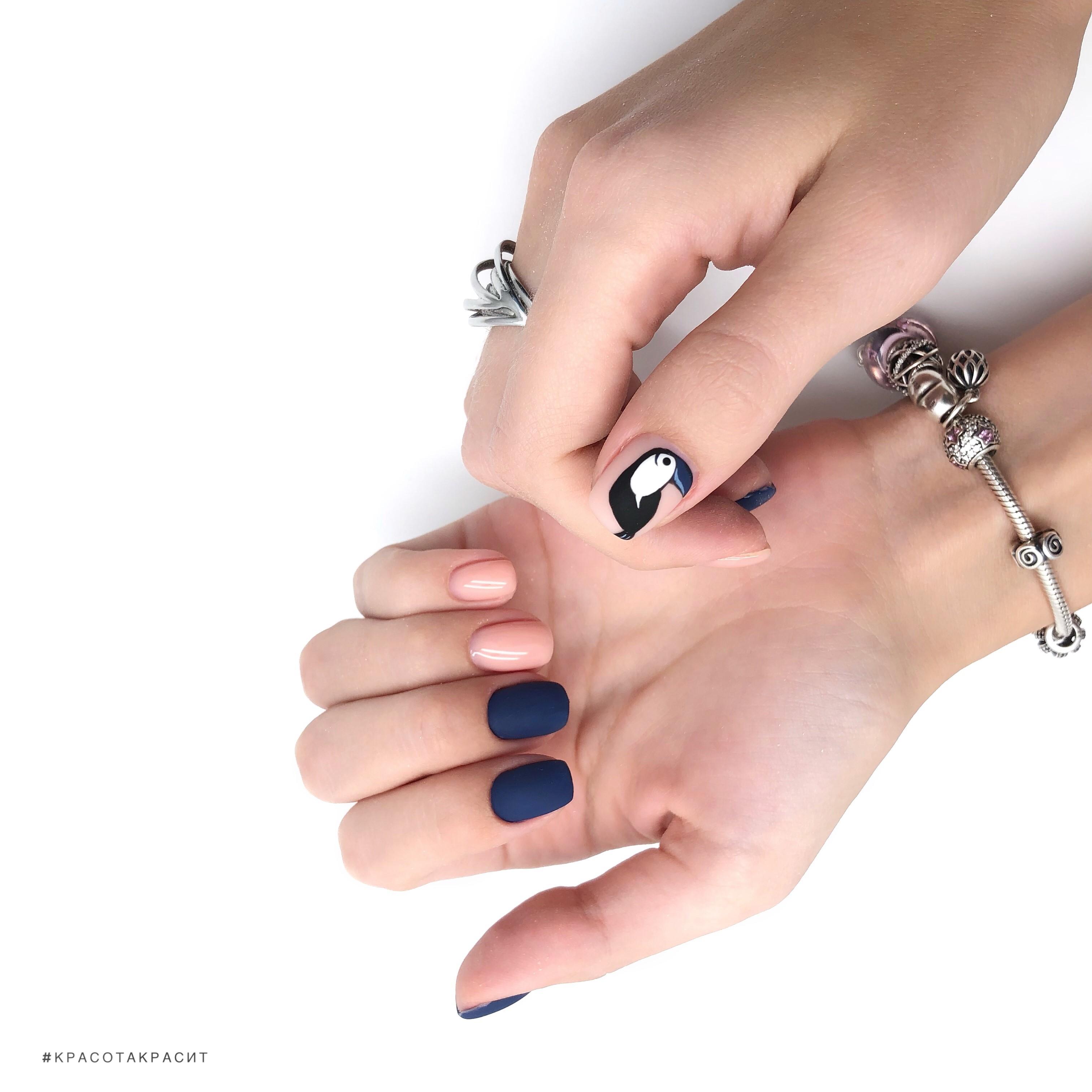 Матовый маникюр с туканом в темно-синем цвете на короткие ногти.