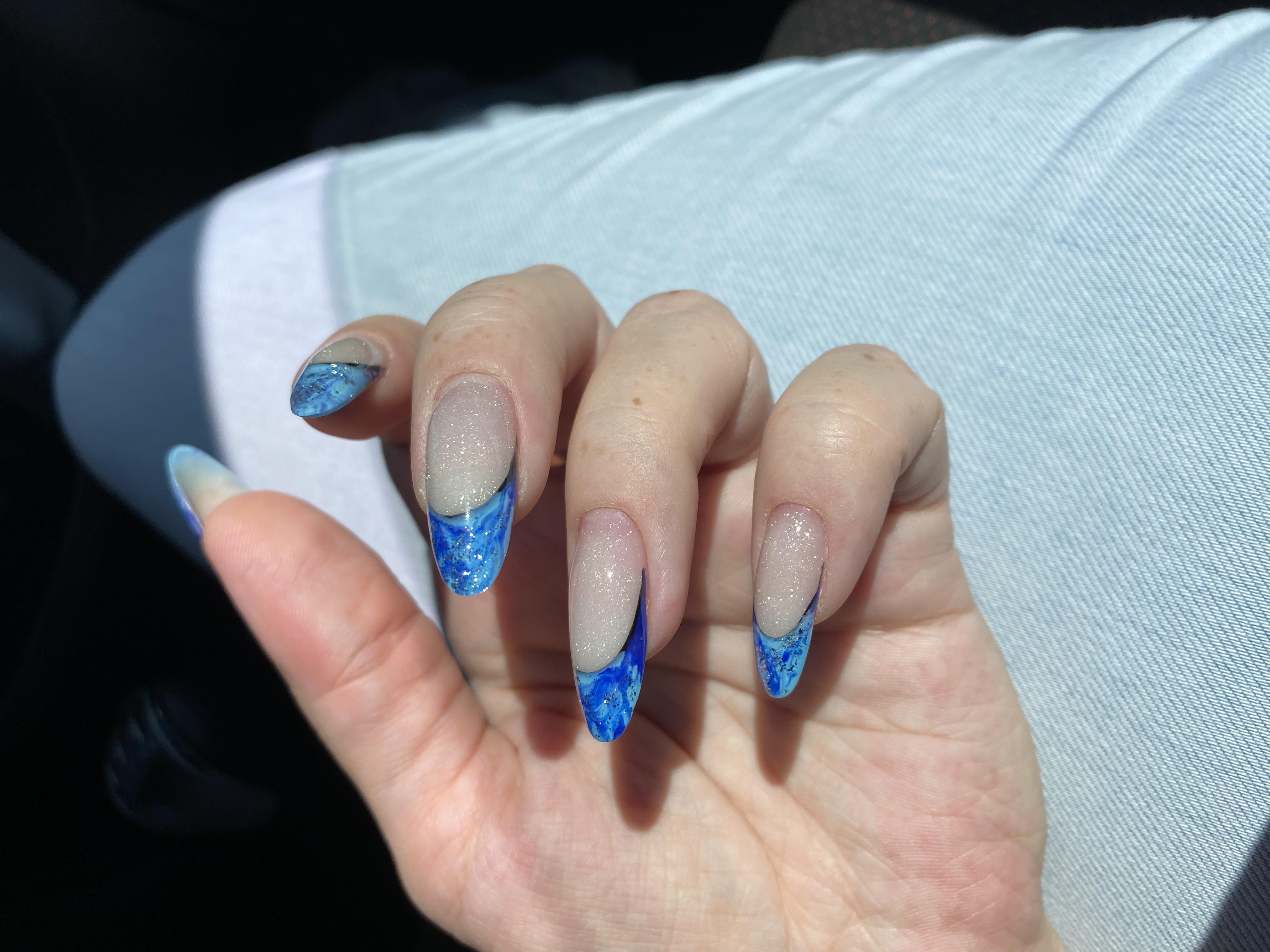Выкладной френч+синий+молочный