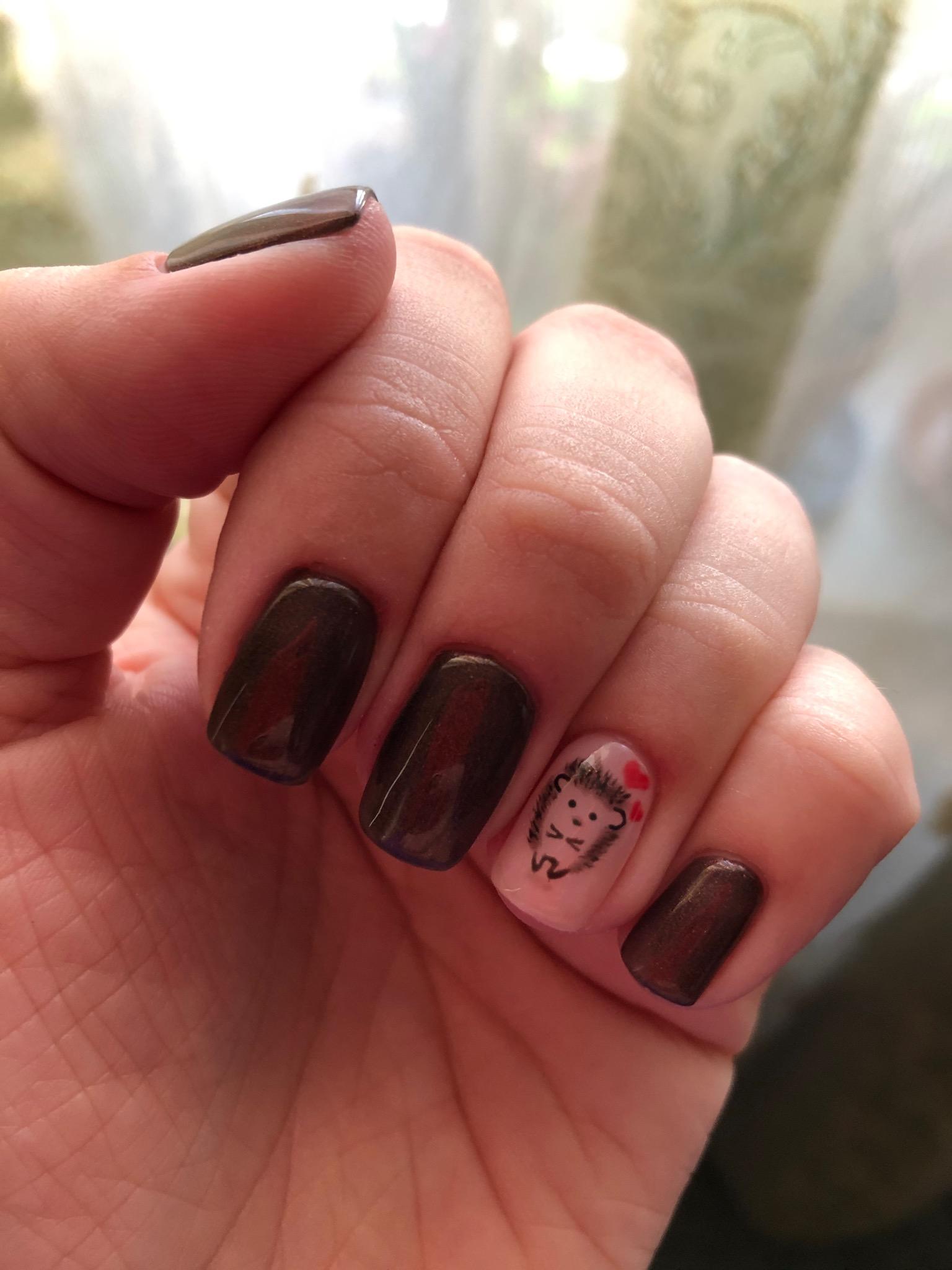 Маникюр с ежиком в шоколадном цвете на короткие ногти.