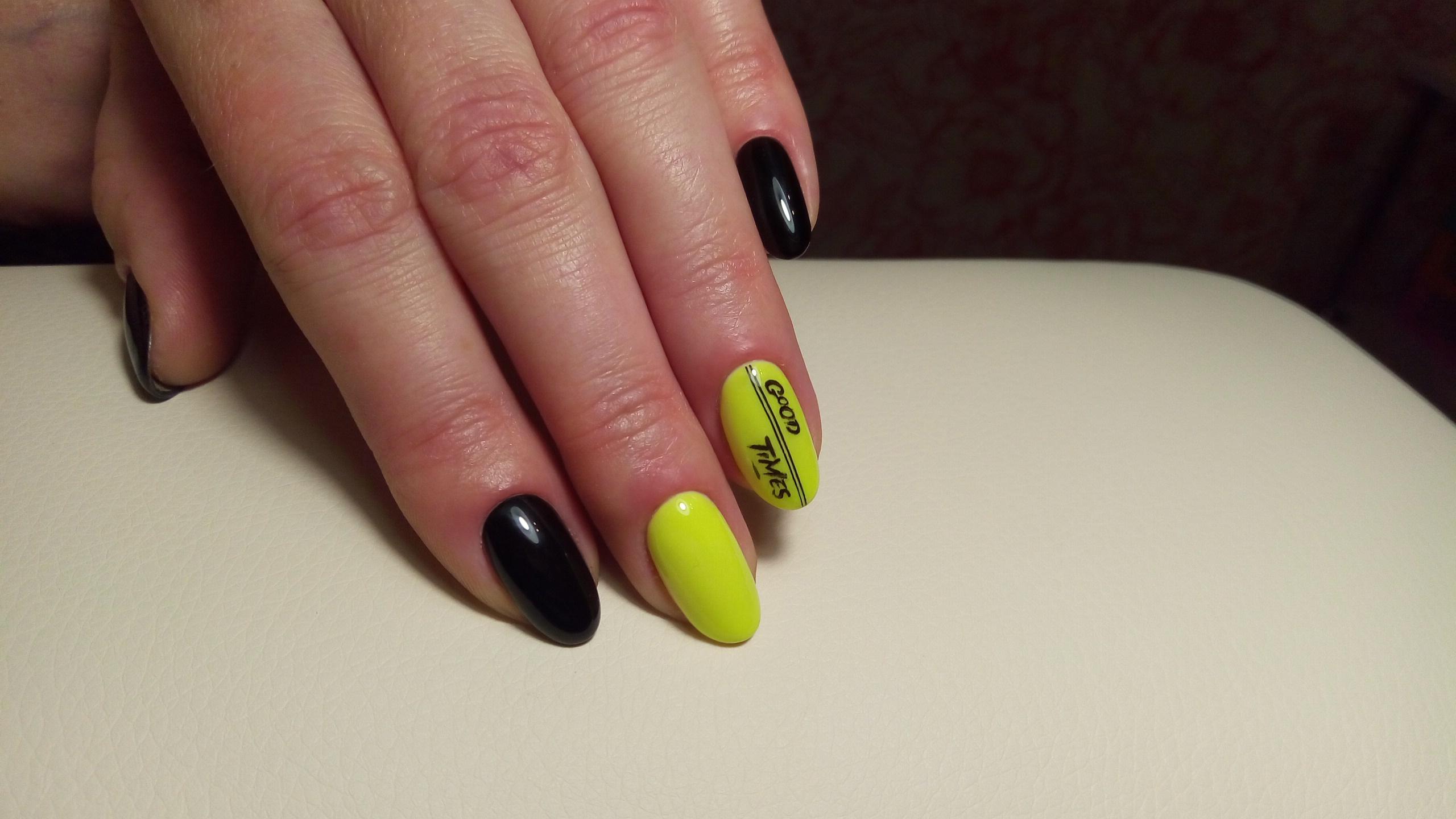 Маникюр Черный с неоново желтым