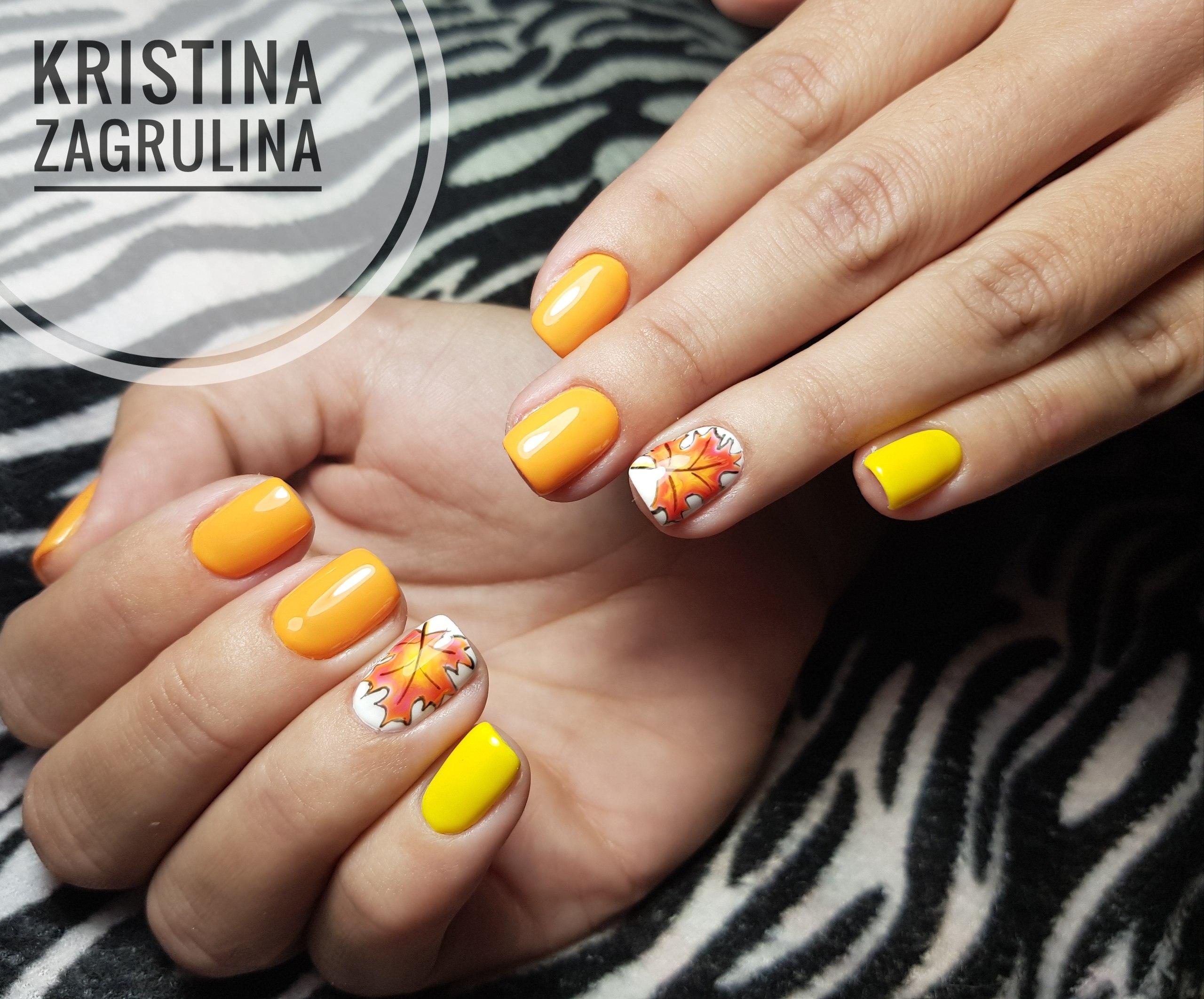 """Оранжево - жёлтый, осенний маникюр, с рисунком """"кленовый лист"""" 🍁"""
