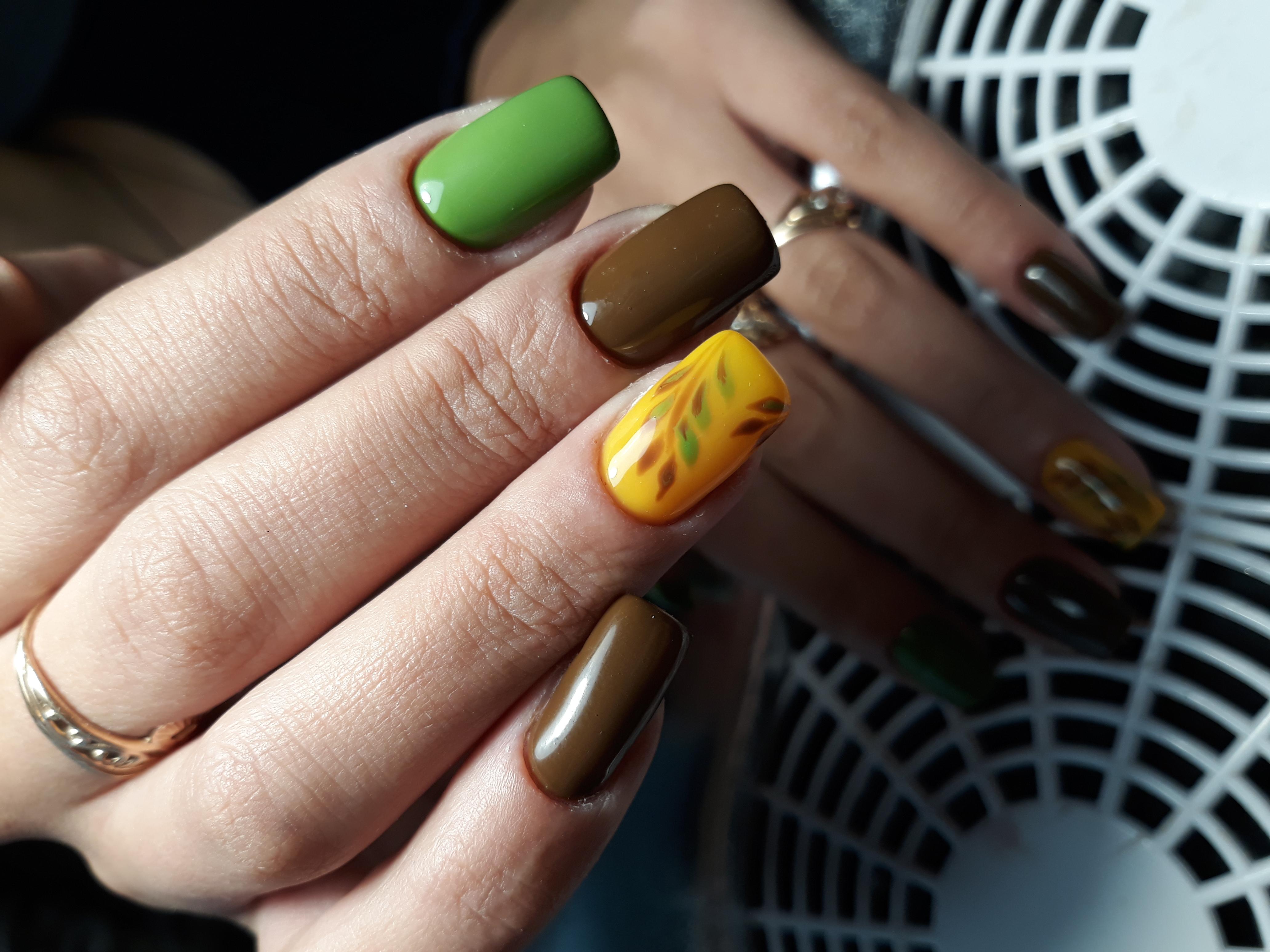 Осенний маникюр с рисунком на длинные ногти.