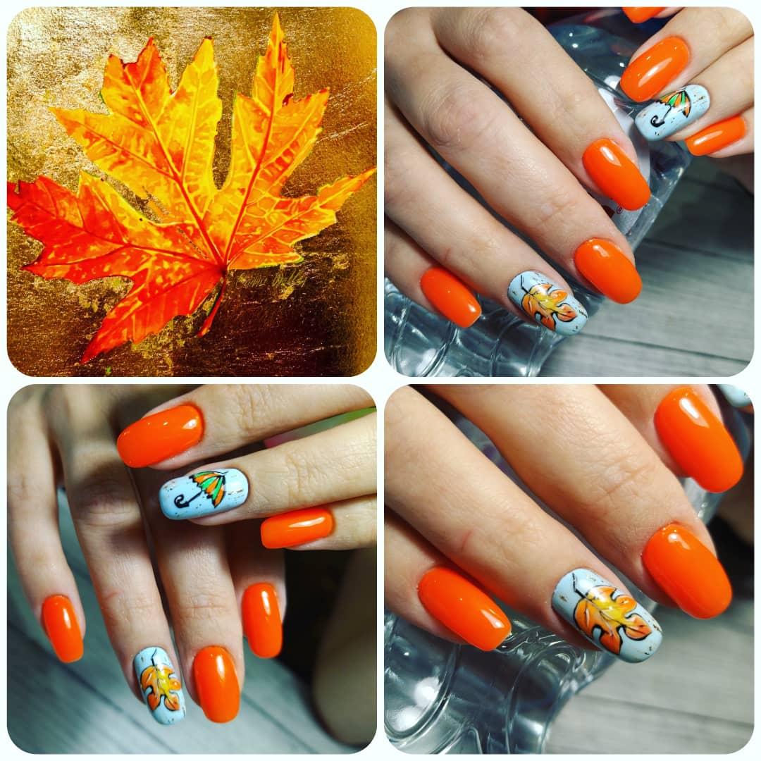 Маникюр яркий оранжевый с кленовым листочком и зонтиком, яркий и необычный🍁☔